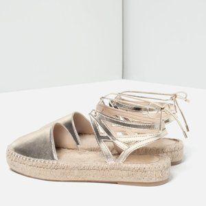 New! Zara gold lace up espadrille sandal jute shoe